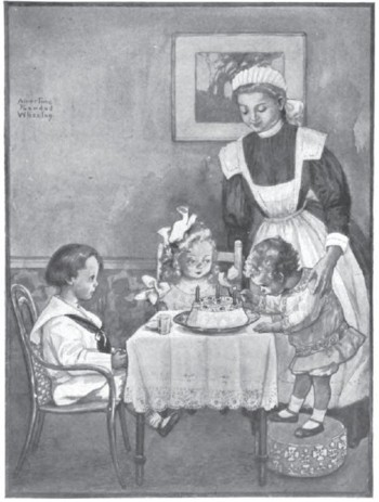 Birthday Cake Party Scene St. Nicholas Magazine 1909