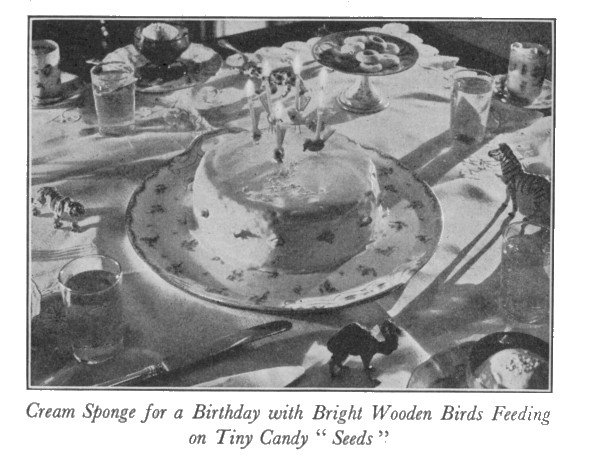 birthday Cake Bird Candle Holders Boston Cooking School Cookbook 1936