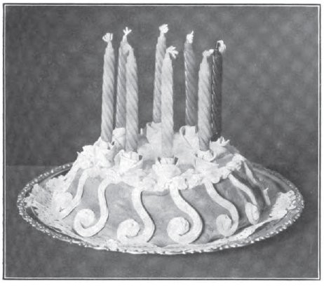 birthday Cake Rosebud Candle Holders Boston Cooking School Magazine 1906