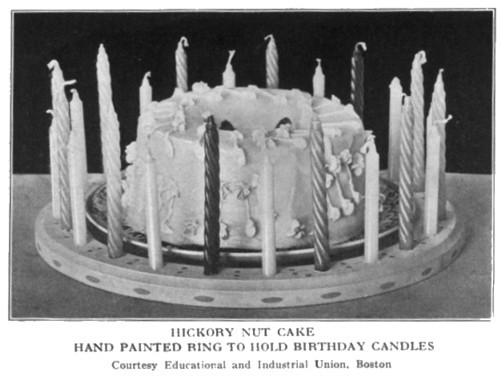 Birthday Cake Hand Painted Candle Holder Ring Boston Cooking School Magazine 1914