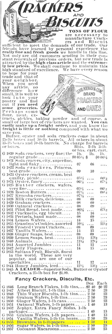 1897 Sears & Roebuck Chocolate Brownies (cookies)
