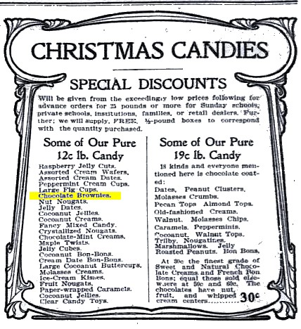 Washington Times 1903 Chocolate Brownies (Christmas Candies)