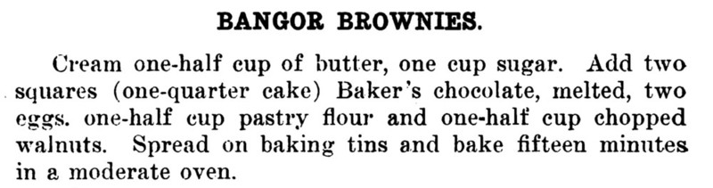 Service Club Cook Book 1904 Bangor Brownies Recipe