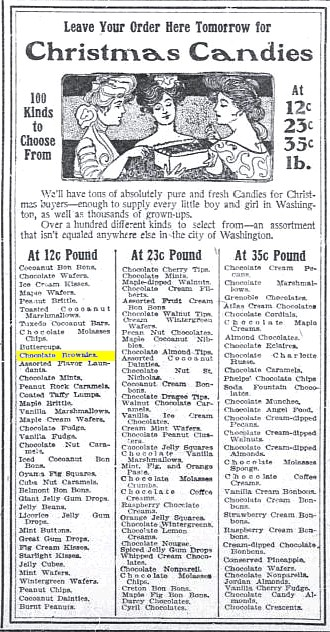 Washington Times 1907 Chocolate Brownies (Christmas Candies)