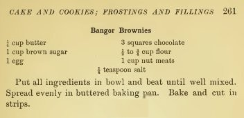 Lowney's Cook Book 1907 Bangor Brownies Recipe