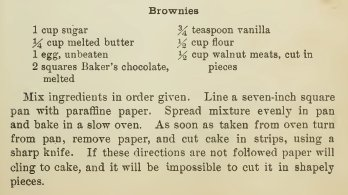 Boston Cooking School Cook Book 19101 Brownies Recipe