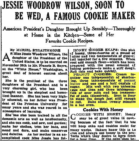 Jessie Woodrwo Wilson Peanut Butter Cookie Recipe